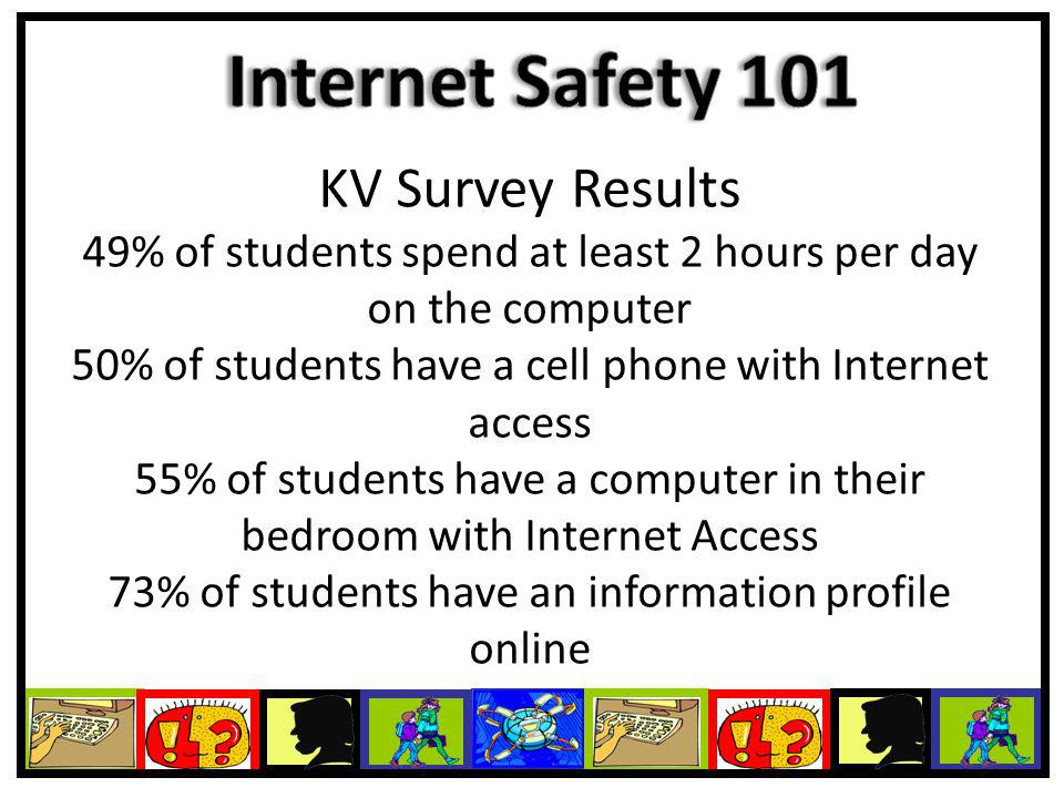 KV Survey Results 49% of students spend at least 2 hours per day on the computer 50% of students have a cell phone with Internet access 55% of students have a computer in their bedroom with Internet Access 73% of students have an information profile online