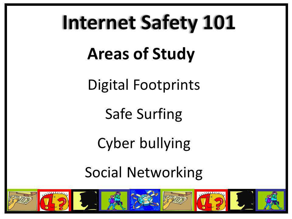 Areas of Study Digital Footprints Safe Surfing Cyber bullying Social Networking