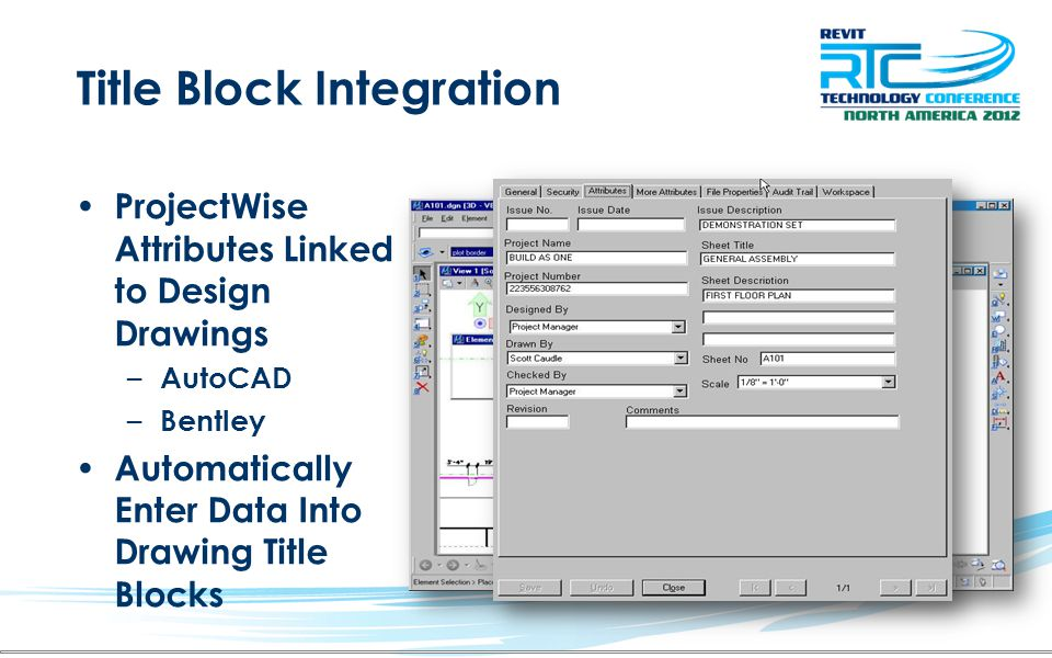 Title Block Integration ProjectWise Attributes Linked to Design Drawings – AutoCAD – Bentley Automatically Enter Data Into Drawing Title Blocks