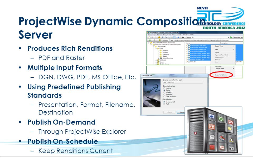 ProjectWise Dynamic Composition Server Produces Rich Renditions –PDF and Raster Multiple Input Formats –DGN, DWG, PDF, MS Office, Etc. Using Predefine