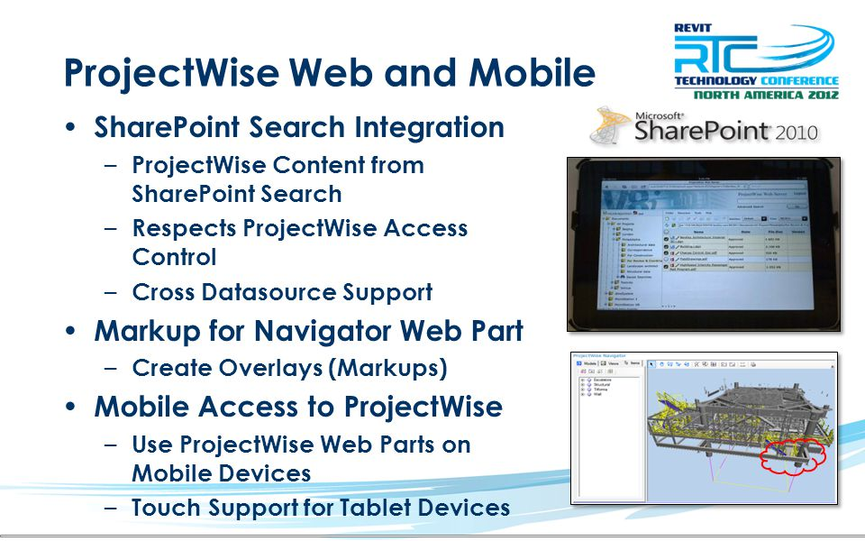 ProjectWise Web and Mobile SharePoint Search Integration – ProjectWise Content from SharePoint Search – Respects ProjectWise Access Control – Cross Da