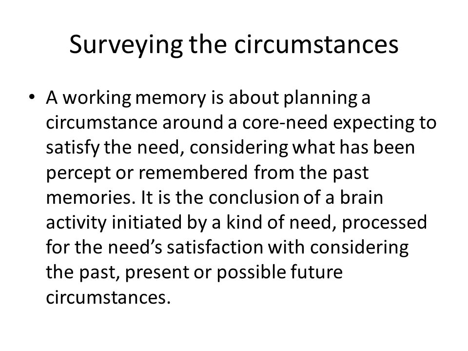 Surveying the circumstances A working memory is about planning a circumstance around a core-need expecting to satisfy the need, considering what has b