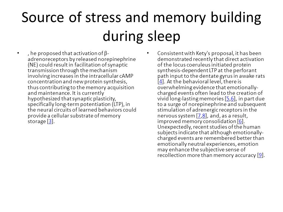 Source of stress and memory building during sleep, he proposed that activation of β- adrenoreceptors by released norepinephrine (NE) could result in f