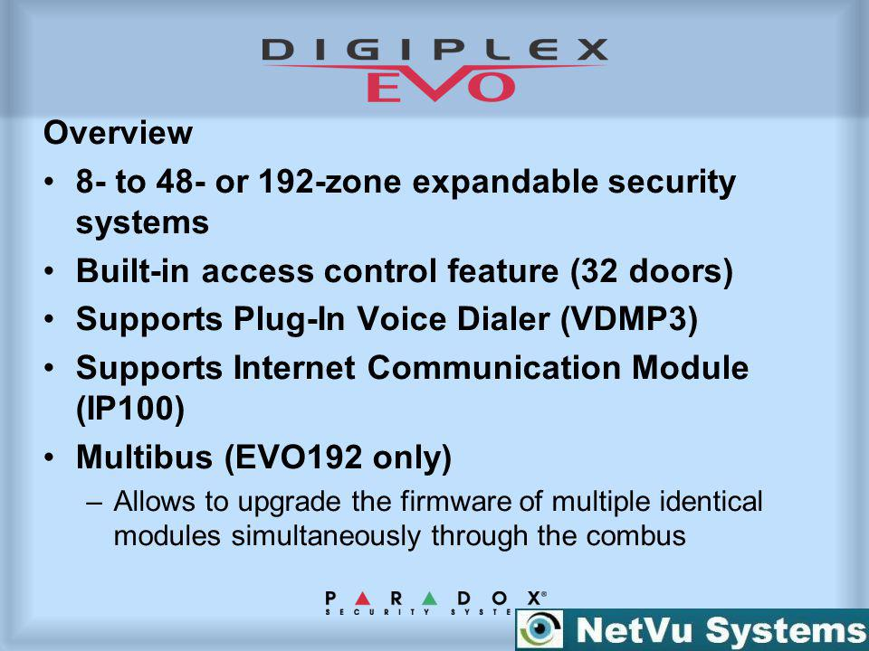 Overview 8- to 48- or 192-zone expandable security systems Built-in access control feature (32 doors) Supports Plug-In Voice Dialer (VDMP3) Supports I