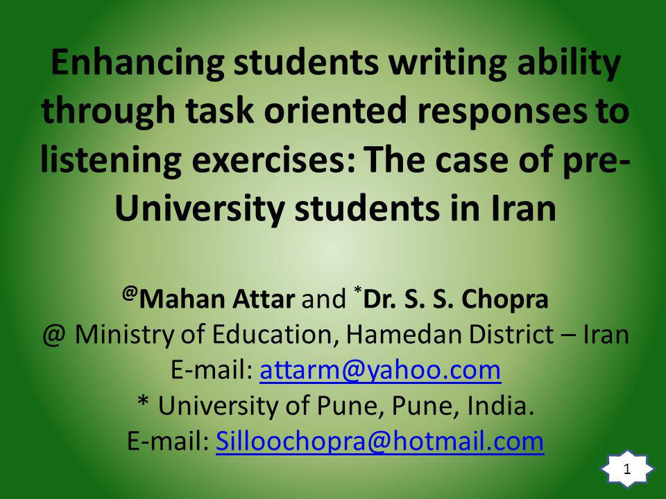 Conclusion It is necessary to provide opportunities for the students to use English more communicatively.