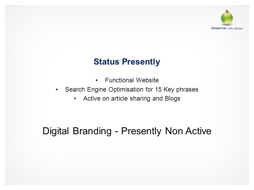 Status Presently Functional Website Search Engine Optimisation for 15 Key phrases Active on article sharing and Blogs Digital Branding - Presently Non