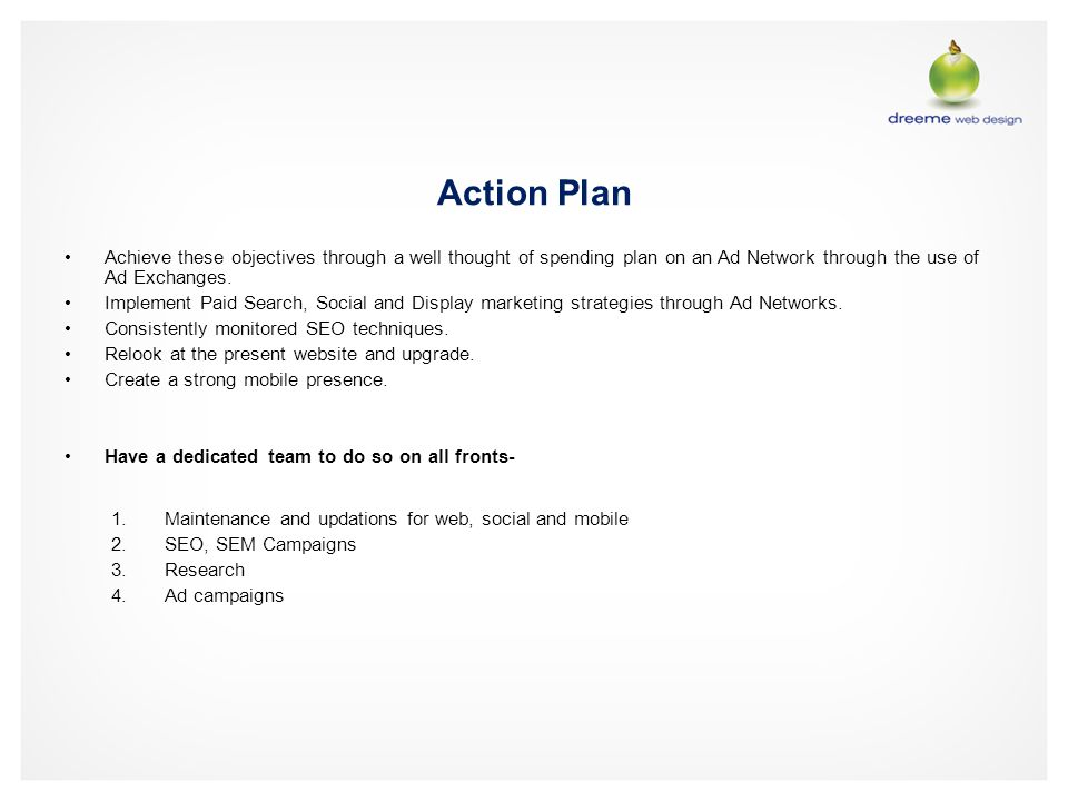 Action Plan Achieve these objectives through a well thought of spending plan on an Ad Network through the use of Ad Exchanges.