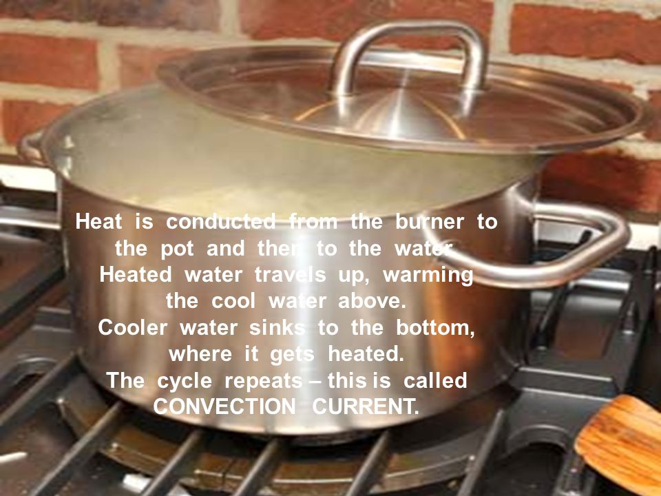 Heat is conducted from the burner to the pot and then to the water.