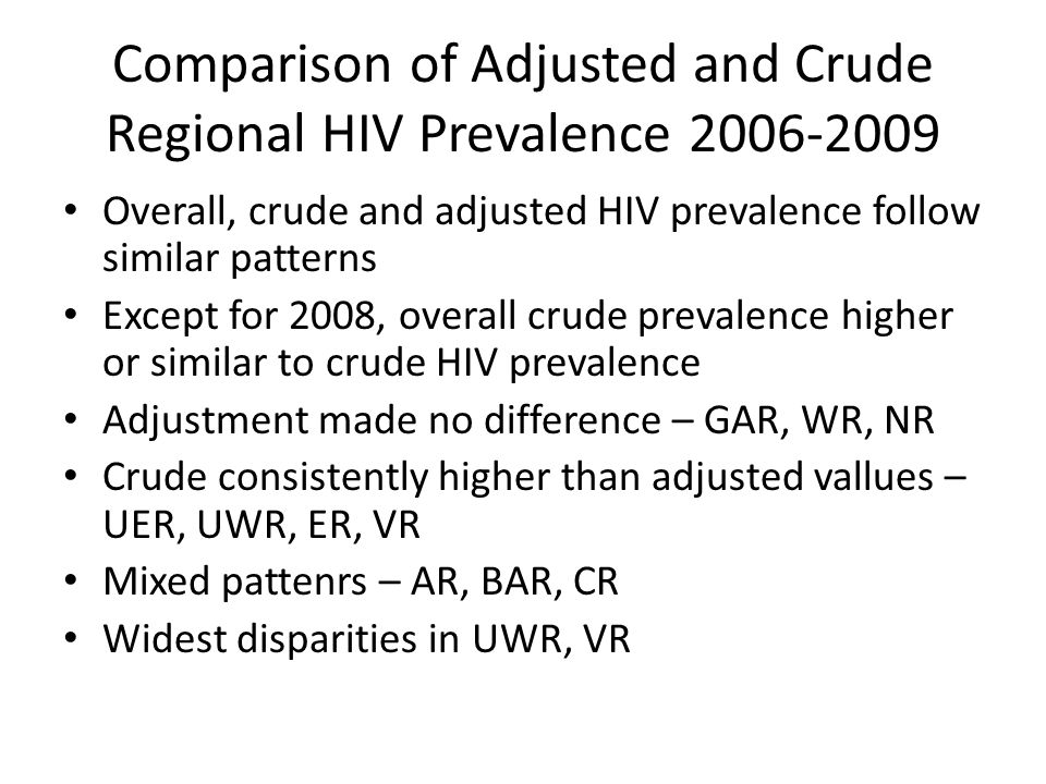 Comparison of Adjusted and Crude Regional HIV Prevalence 2006-2009 Overall, crude and adjusted HIV prevalence follow similar patterns Except for 2008,