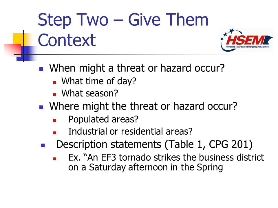 Step Two – Give Them Context When might a threat or hazard occur.