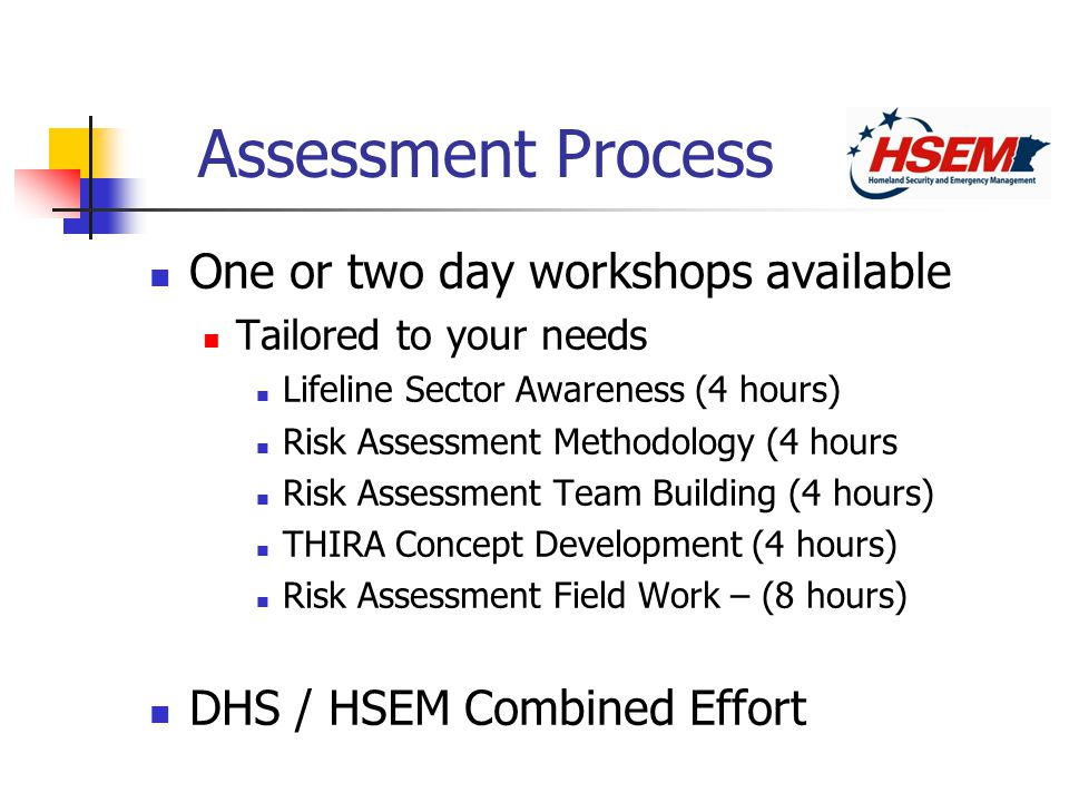 Assessment Process One or two day workshops available Tailored to your needs Lifeline Sector Awareness (4 hours) Risk Assessment Methodology (4 hours Risk Assessment Team Building (4 hours) THIRA Concept Development (4 hours) Risk Assessment Field Work – (8 hours) DHS / HSEM Combined Effort