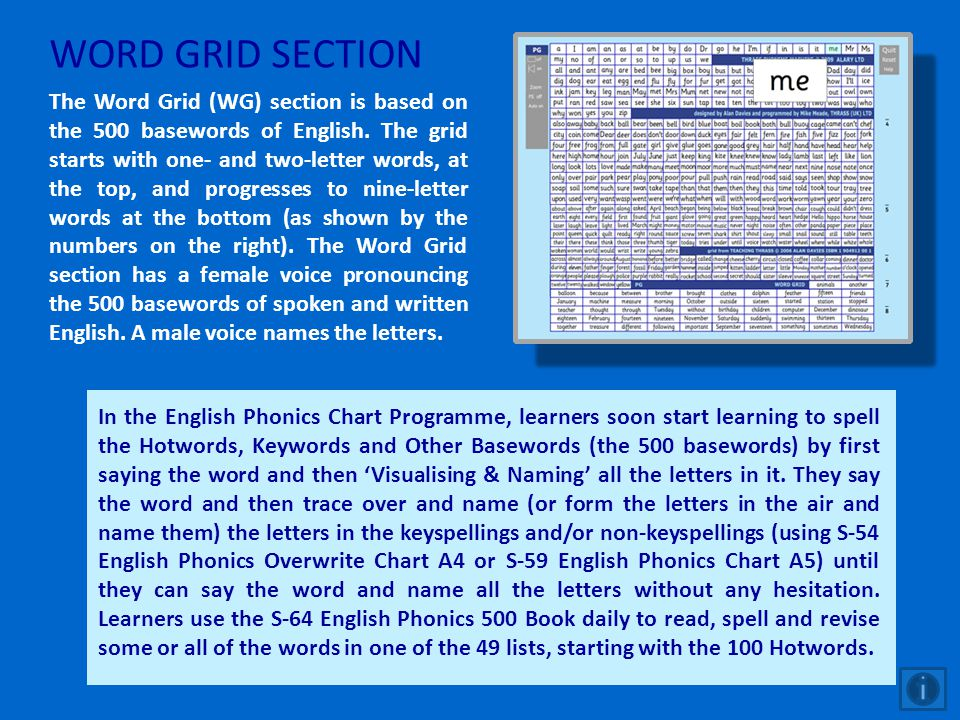 WORD GRID SECTION The Word Grid (WG) section is based on the 500 basewords of English. The grid starts with one- and two-letter words, at the top, and