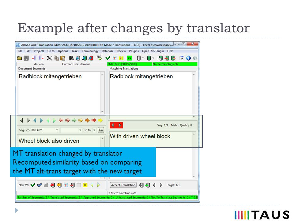 Example after changes by translator MT translation changed by translator Recomputed similarity based on comparing the MT alt-trans target with the new target