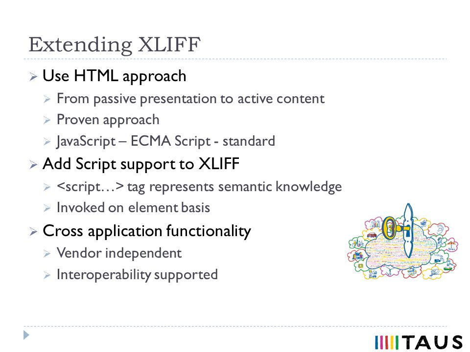Use HTML approach From passive presentation to active content Proven approach JavaScript – ECMA Script - standard Add Script support to XLIFF tag represents semantic knowledge Invoked on element basis Cross application functionality Vendor independent Interoperability supported Extending XLIFF