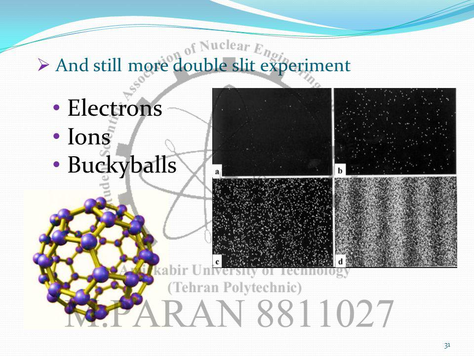 And still more double slit experiment Electrons Ions Buckyballs 31