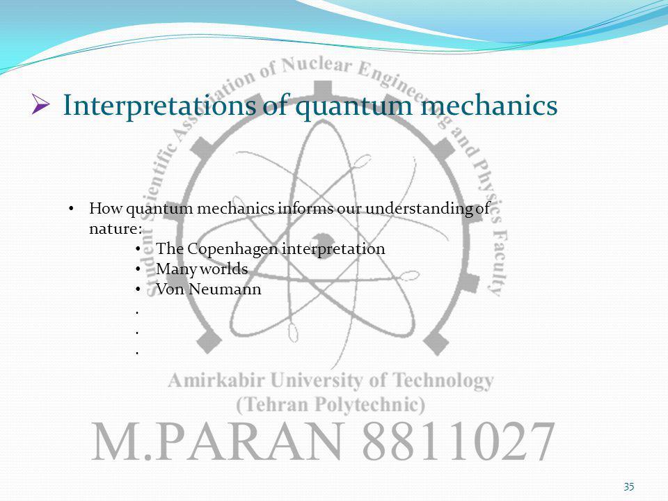 35 Interpretations of quantum mechanics How quantum mechanics informs our understanding of nature: The Copenhagen interpretation Many worlds Von Neumann.