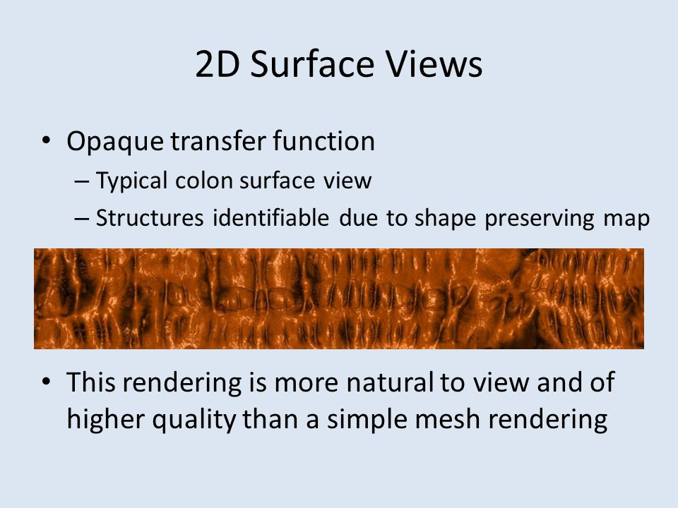 2D Surface Views Opaque transfer function – Typical colon surface view – Structures identifiable due to shape preserving map This rendering is more na