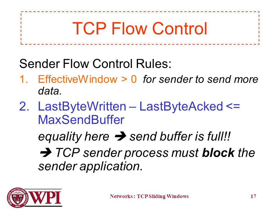 Networks : TCP Sliding Windows17 Sender Flow Control Rules: 1.EffectiveWindow > 0 for sender to send more data.