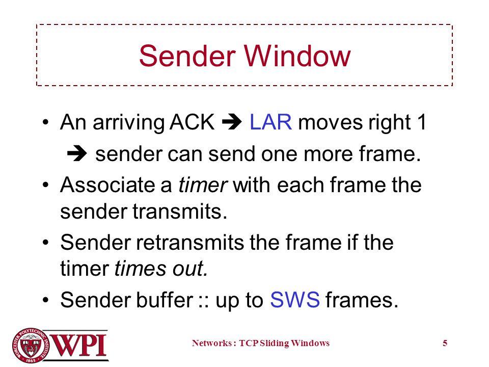 Networks : TCP Sliding Windows5 Sender Window An arriving ACK LAR moves right 1 sender can send one more frame.