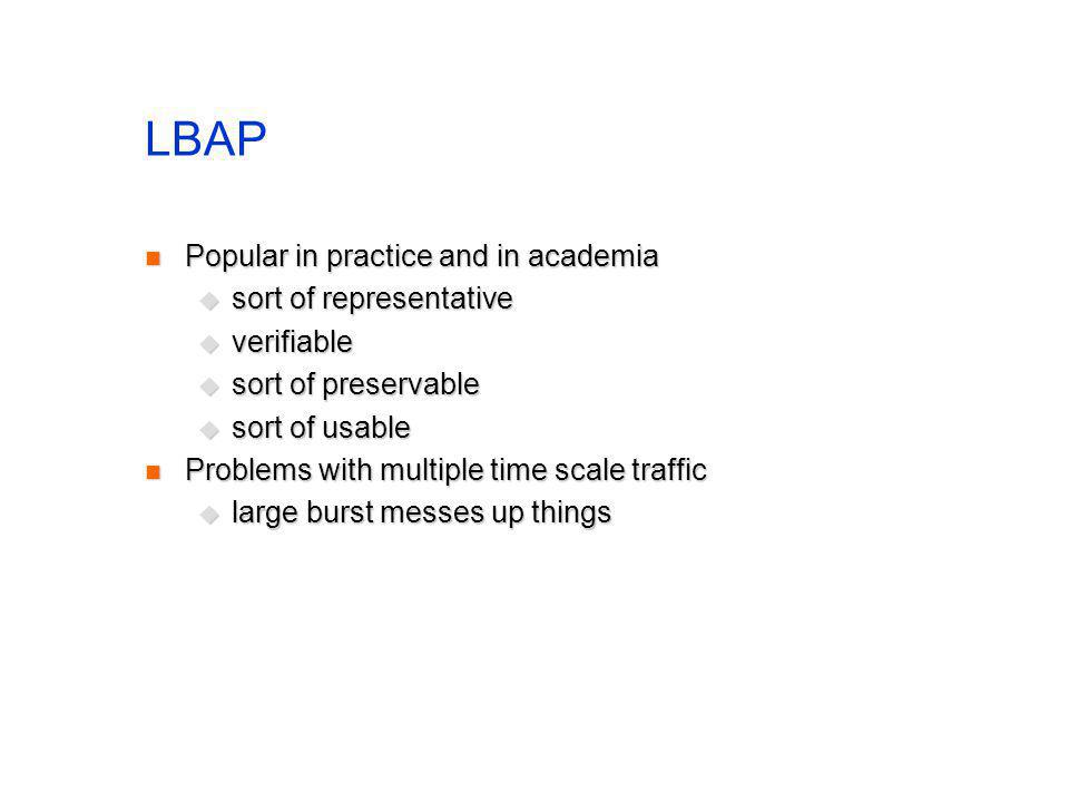 LBAP Popular in practice and in academia Popular in practice and in academia sort of representative sort of representative verifiable verifiable sort of preservable sort of preservable sort of usable sort of usable Problems with multiple time scale traffic Problems with multiple time scale traffic large burst messes up things large burst messes up things