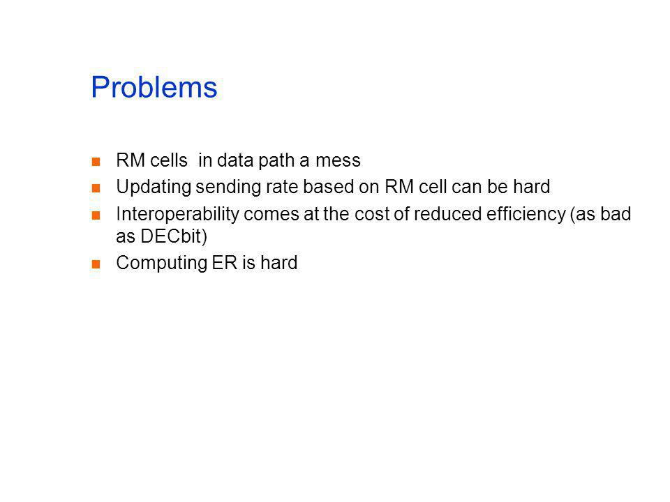 Problems RM cells in data path a mess Updating sending rate based on RM cell can be hard Interoperability comes at the cost of reduced efficiency (as