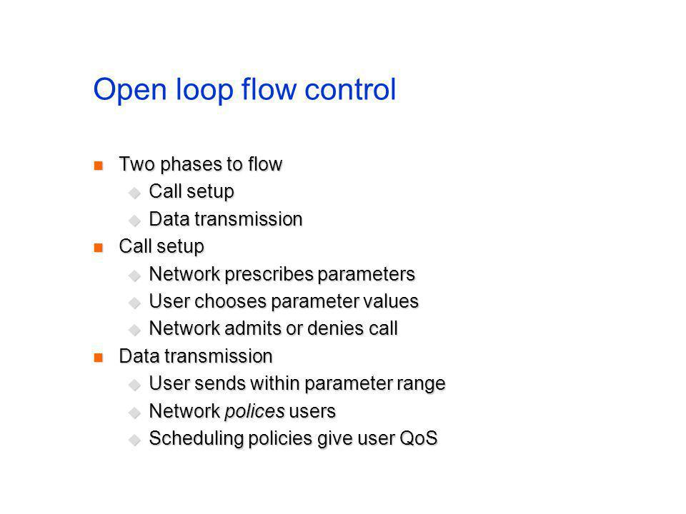 Open loop flow control Two phases to flow Two phases to flow Call setup Call setup Data transmission Data transmission Call setup Call setup Network prescribes parameters Network prescribes parameters User chooses parameter values User chooses parameter values Network admits or denies call Network admits or denies call Data transmission Data transmission User sends within parameter range User sends within parameter range Network polices users Network polices users Scheduling policies give user QoS Scheduling policies give user QoS