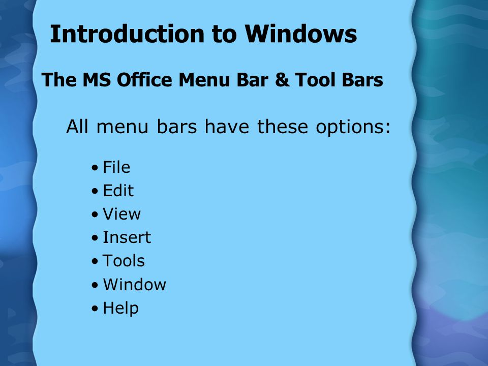 Introduction to Windows The MS Office Menu Bar & Tool Bars All menu bars have these options: File Edit View Insert Tools Window Help
