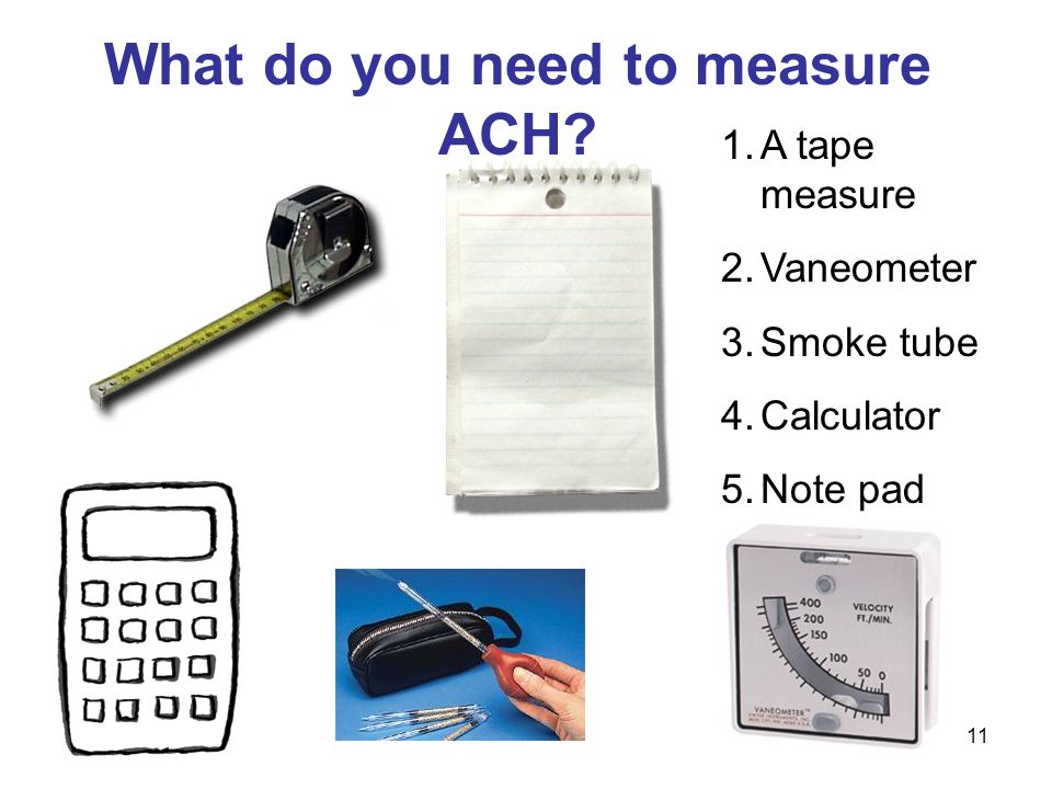 What do you need to measure ACH? 1.A tape measure 2.Vaneometer 3.Smoke tube 4.Calculator 5.Note pad 11
