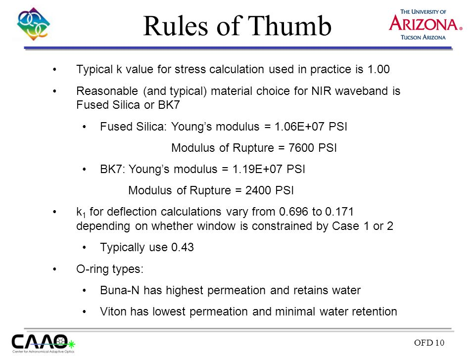 OFD 10 Rules of Thumb Typical k value for stress calculation used in practice is 1.00 Reasonable (and typical) material choice for NIR waveband is Fus