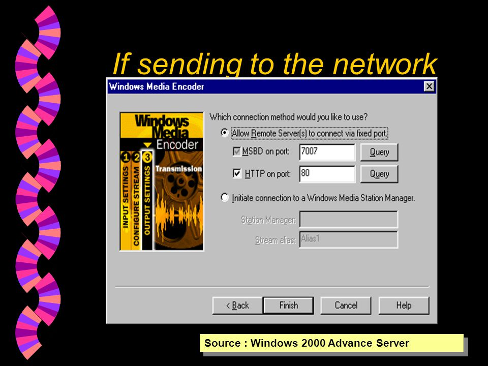 Where the data send Source : Windows 2000 Advance Server