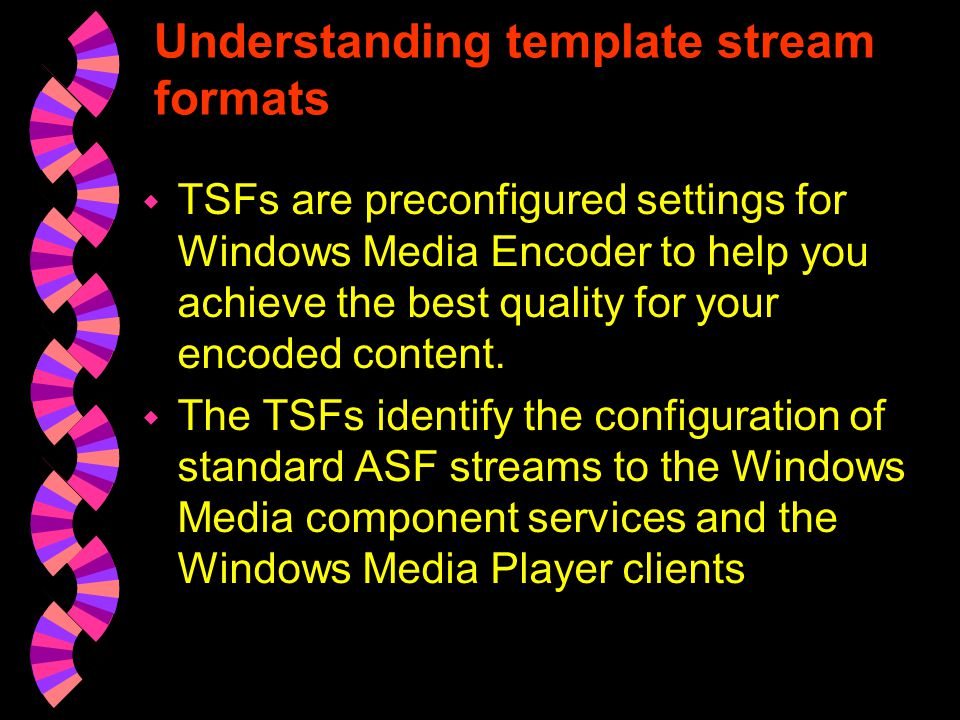 CONTINUE 7.If you output to a Windows Media server, from the Output Settings, Transmission screen, select the method that Windows Media Encoder uses to transmit the ASF stream to the WindowsMedia server.
