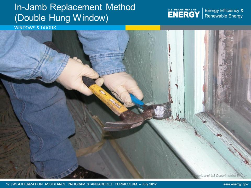 eere.energy.gov17 | WEATHERIZATION ASSISTANCE PROGRAM STANDARDIZED CURRICULUM – July 2012 In-Jamb Replacement Method (Double Hung Window) WINDOWS & DO