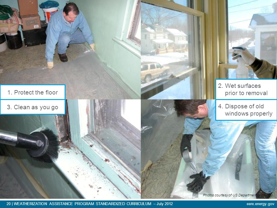 eere.energy.gov20 | WEATHERIZATION ASSISTANCE PROGRAM STANDARDIZED CURRICULUM – July 2012 Windows and Doors 1. Protect the floor 2. Wet surfaces prior