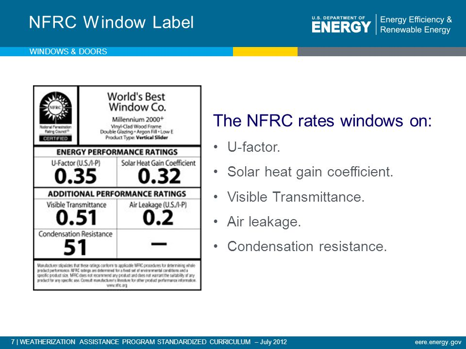 eere.energy.gov7 | WEATHERIZATION ASSISTANCE PROGRAM STANDARDIZED CURRICULUM – July 2012 NFRC Window Label The NFRC rates windows on: U-factor. Solar