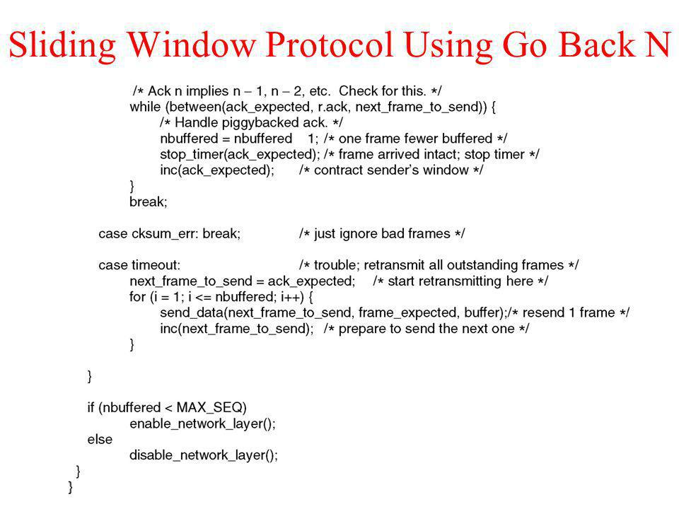 Sliding Window Protocol Using Go Back N