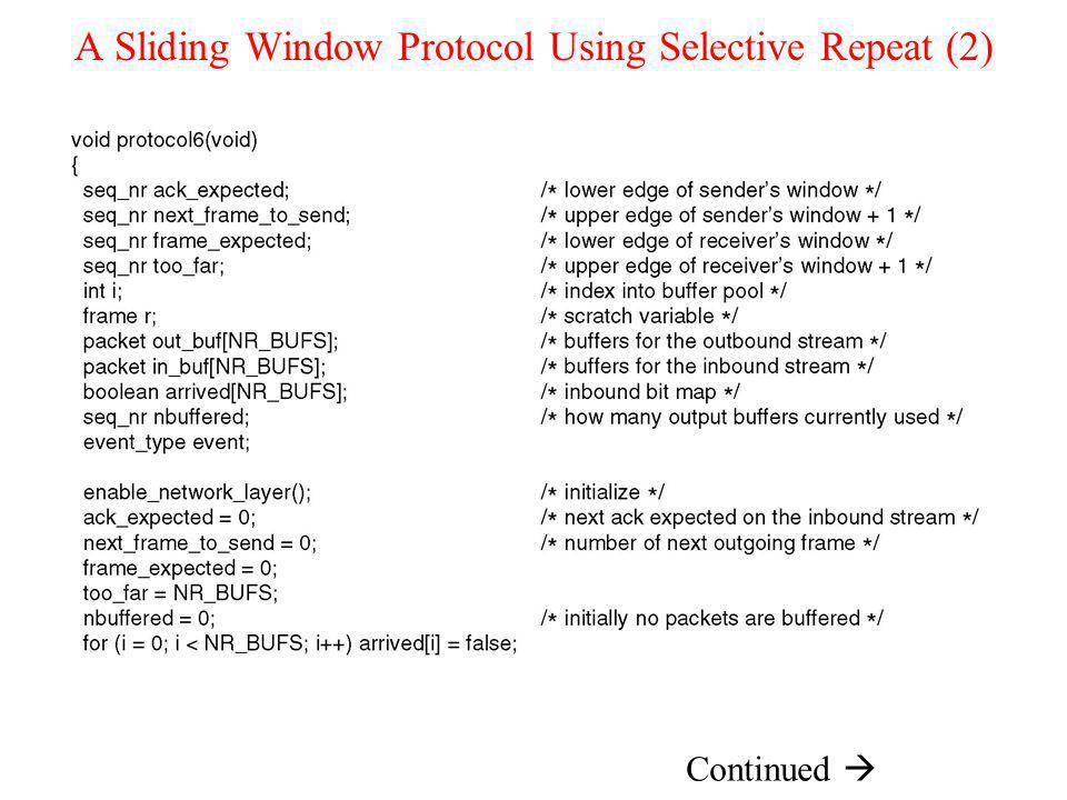 A Sliding Window Protocol Using Selective Repeat (2)