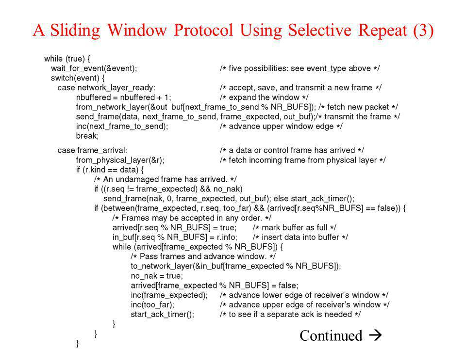 A Sliding Window Protocol Using Selective Repeat (3) Continued