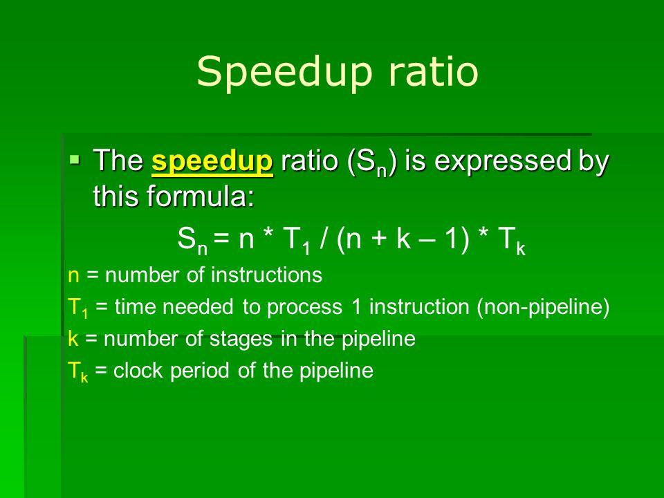 Speedup ratio The speedup ratio (S n ) is expressed by this formula: The speedup ratio (S n ) is expressed by this formula: S n = n * T 1 / (n + k – 1