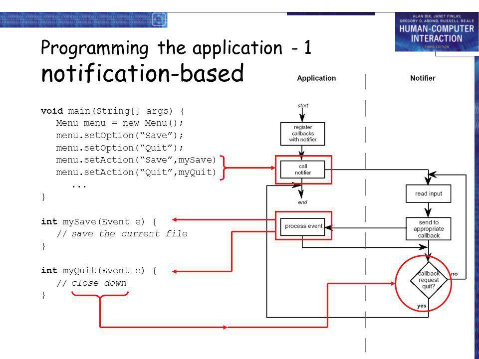 Programming the application - 1 notification-based void main(String[] args) { Menu menu = new Menu(); menu.setOption(Save); menu.setOption(Quit); menu