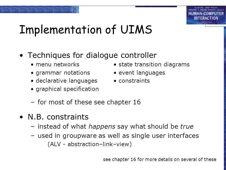 Implementation of UIMS Techniques for dialogue controller menu networks state transition diagrams grammar notations event languages declarative langua