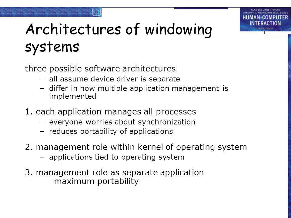 Architectures of windowing systems three possible software architectures –all assume device driver is separate –differ in how multiple application man
