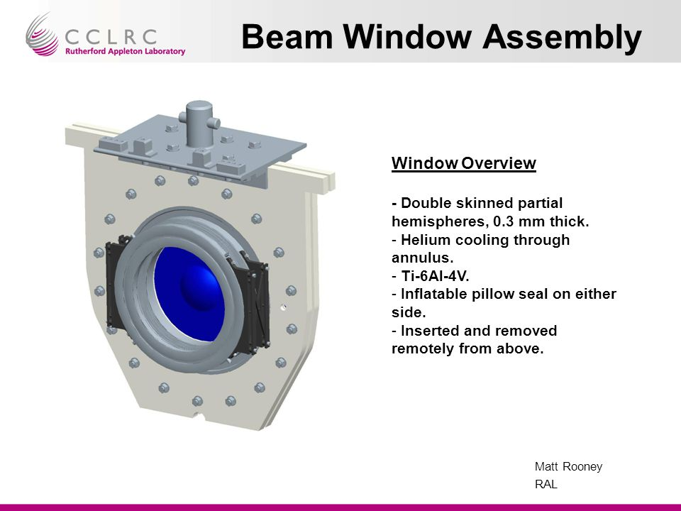 Matt Rooney RAL Beam Window Assembly Window Overview - Double skinned partial hemispheres, 0.3 mm thick.