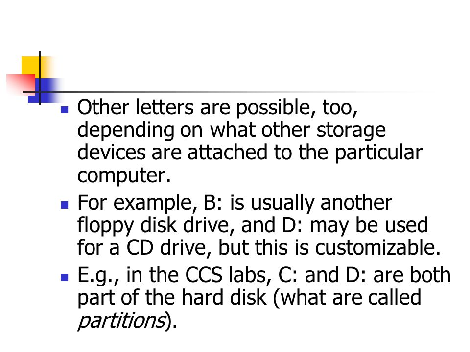 Other letters are possible, too, depending on what other storage devices are attached to the particular computer. For example, B: is usually another f