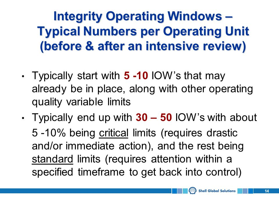 14 Integrity Operating Windows – Typical Numbers per Operating Unit (before & after an intensive review) Typically start with 5 -10 IOWs that may already be in place, along with other operating quality variable limits Typically end up with 30 – 50 IOWs with about 5 -10% being critical limits (requires drastic and/or immediate action), and the rest being standard limits (requires attention within a specified timeframe to get back into control)