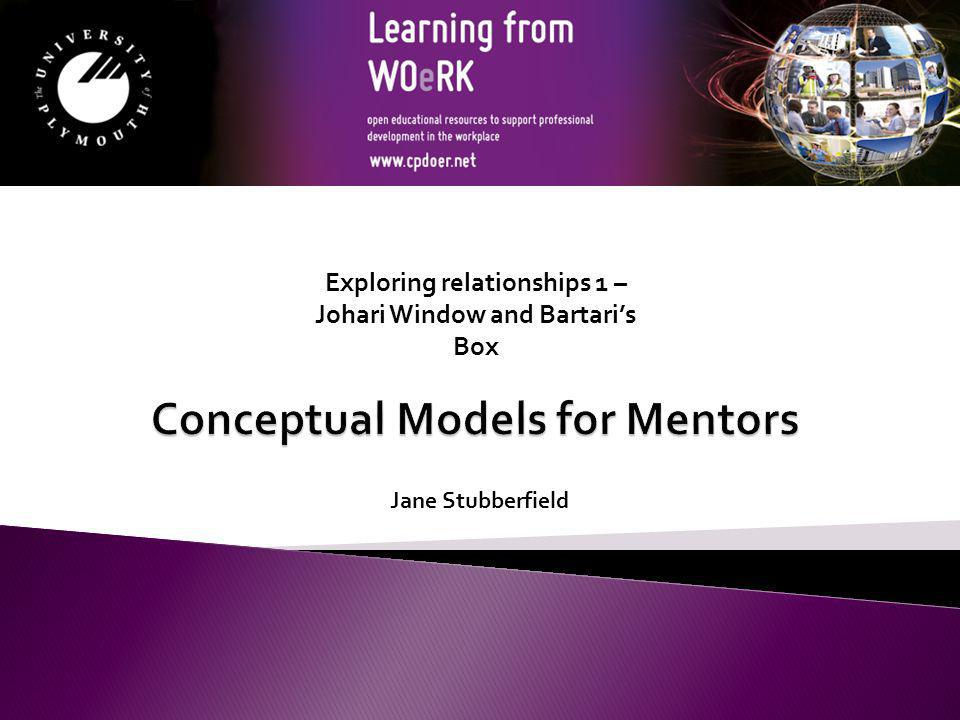 By the end of these sessions you will be able to: Identify four models for exploring relationships Explain the concepts behind the models Evaluate the use of the models in mentoring