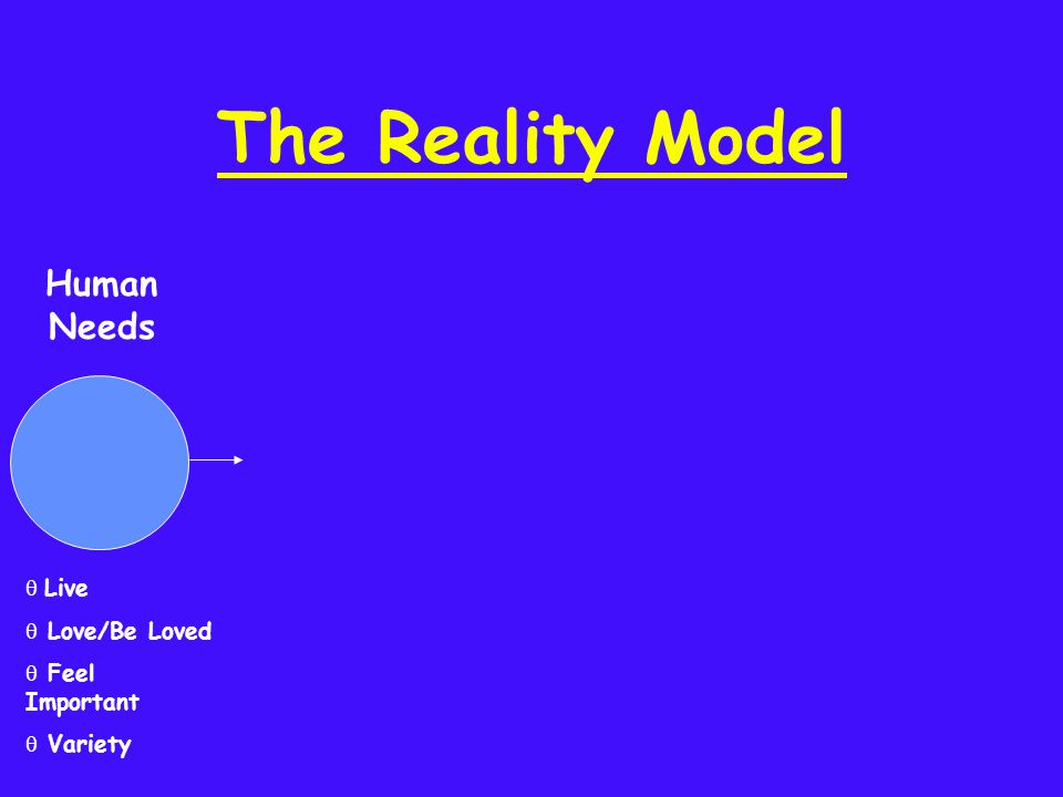 The Reality Model q Live q Love/Be Loved q Feel Important q Variety Human Needs