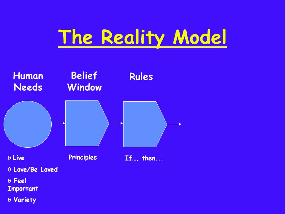 The Reality Model If…, then... Principles Rules Belief Window q Live q Love/Be Loved q Feel Important q Variety Human Needs