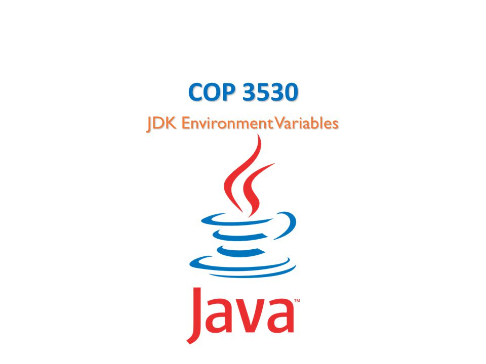 COP 3530 JDK Environment Variables