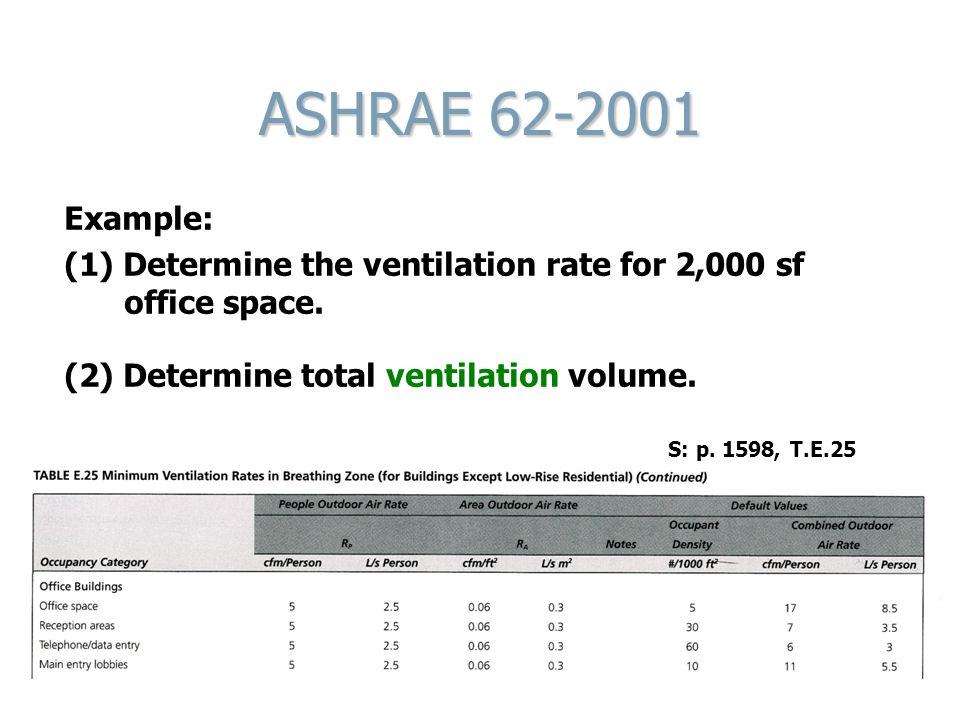 ASHRAE 62-2001 Example: (1) Determine the ventilation rate for 2,000 sf office space. (2) Determine total ventilation volume. S: p. 1598, T.E.25