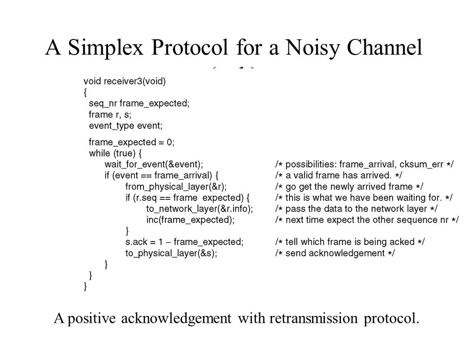 A Simplex Protocol for a Noisy Channel (ctd.) A positive acknowledgement with retransmission protocol.